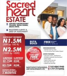 Sacred Heart Estate Asaba Mixed Land for Sale Asaba Delta Vetra  Property